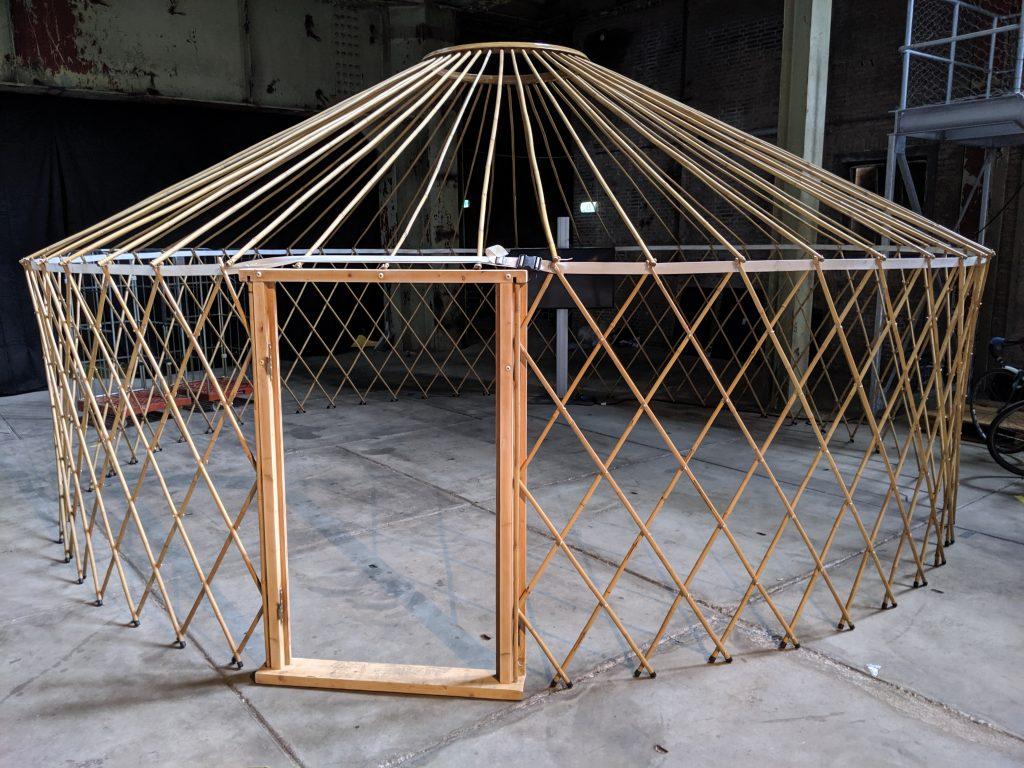 Het geraamte van een mongoolse ger-tent